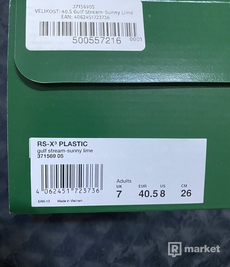 PUMA RS-X³ PLASTIC gulf stream-sunny lime Size 40.5 US 8
