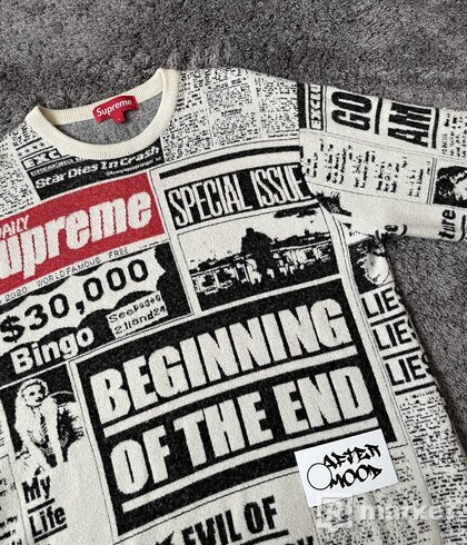 Supreme Newsprint Sweater White