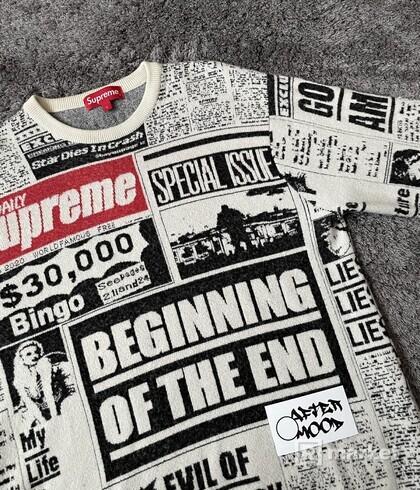 Supreme Newsprint Sweater White