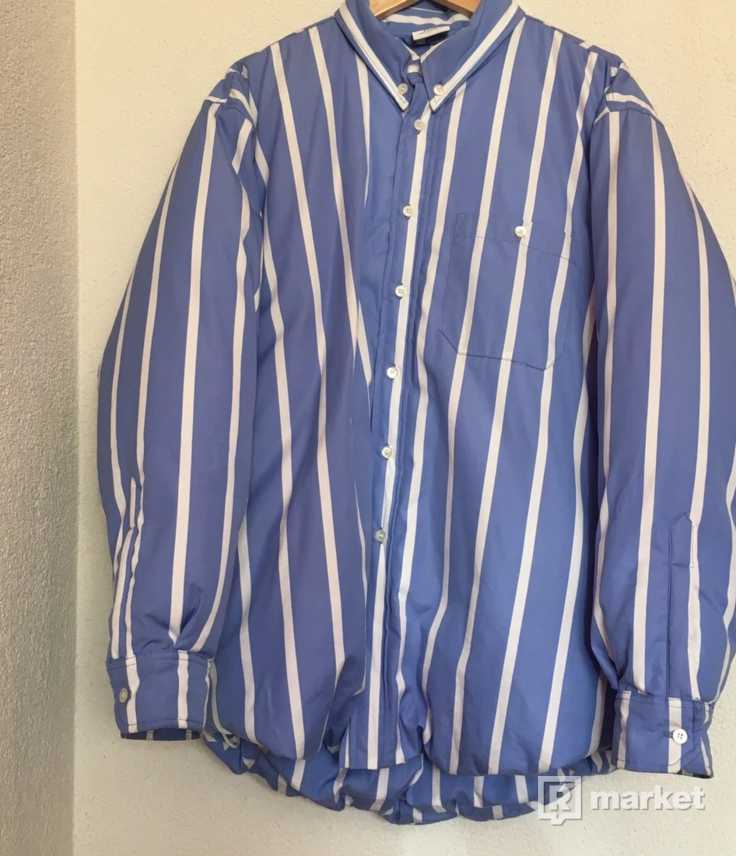 Vetements Stripe Puffa Shirt Jacket