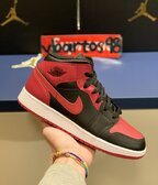 Air Jordan I Mid Banned GS + Jumpman sticker