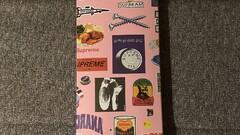 Supreme Stickers Skateboard Deck Pink