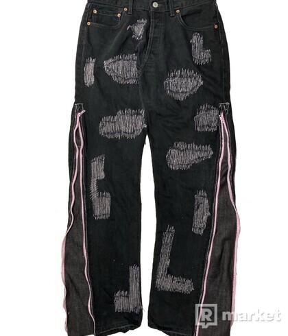 custom Levis 517 black/ pink