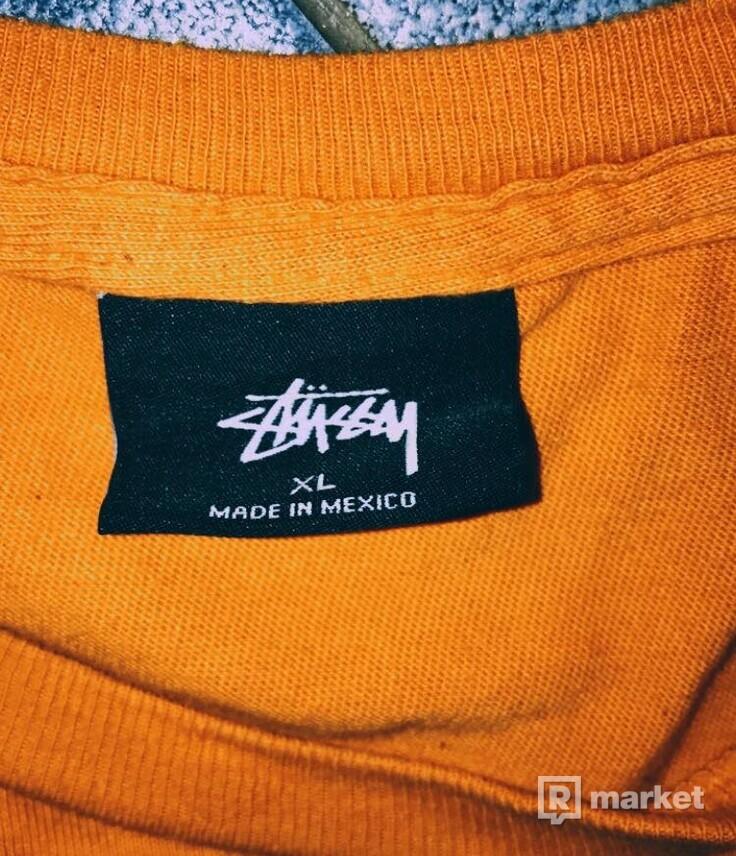 Stussy orange tee basic logo