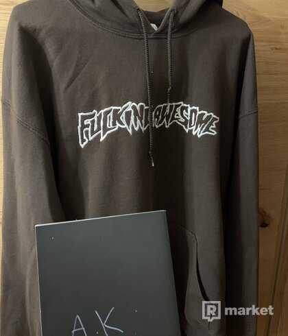 Fucking Awesome logo hoodie white-brown limitka