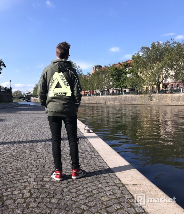 Palace reflecto hoodie olive