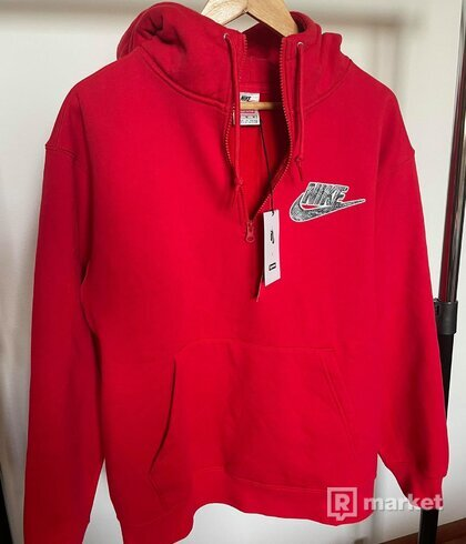 Supreme x Nike Half Zip Hooded Sweatshirt Red