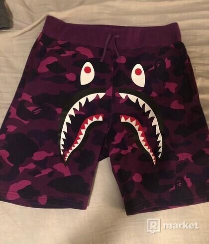 bape shark purple camo shorts