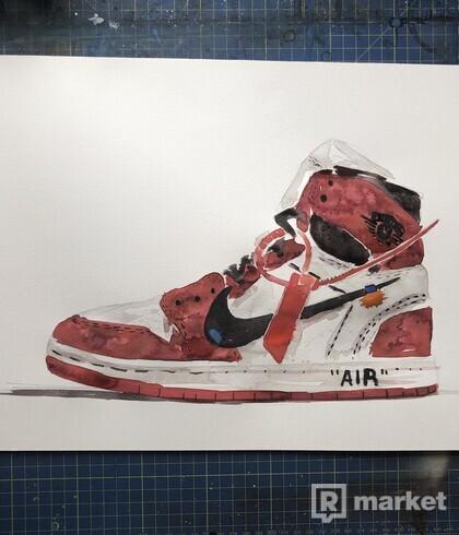 Nike Off White Air Jordan watercolor painting