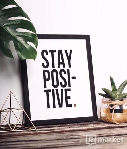 Obraz - Stay Positive - black & gold