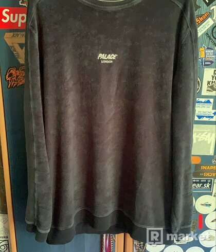 Palace Velour Crewneck Blue