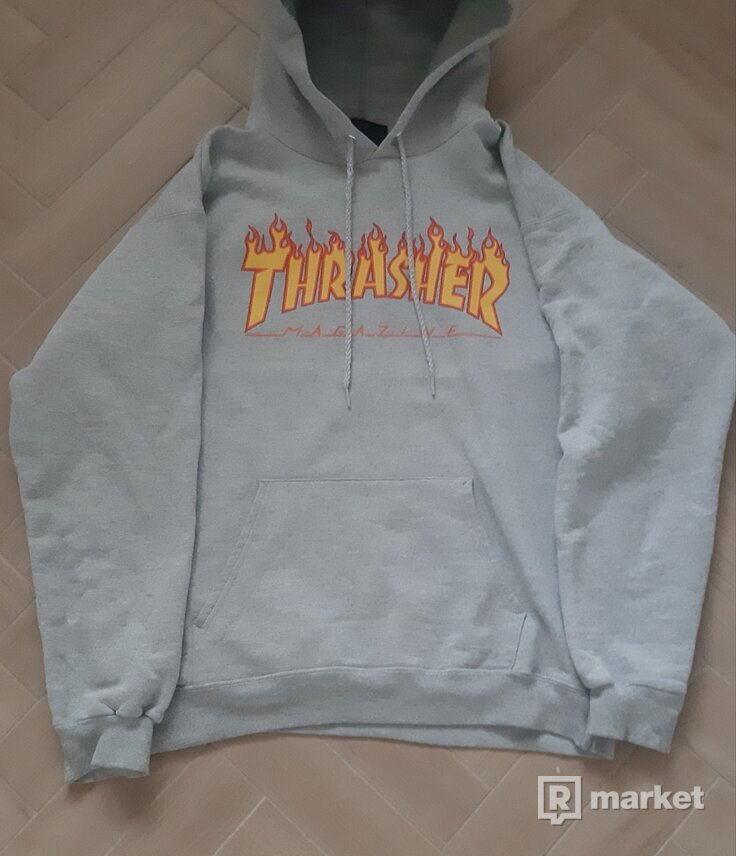 Mikina Thrasher Flame Logo-Grey