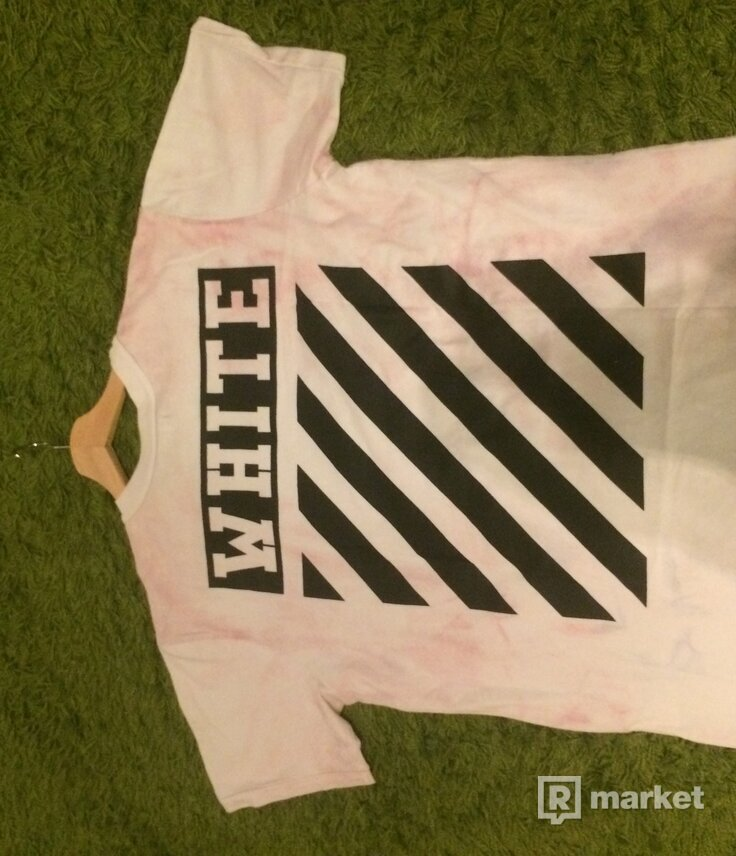 Off white pink/white dye camouflage tričko