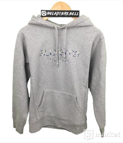 Supreme Multicolor Classic Logo Hoodie Grey size M