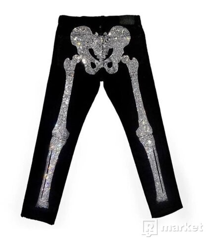 Klan Life Rhinestone Skeleton Denim Pants