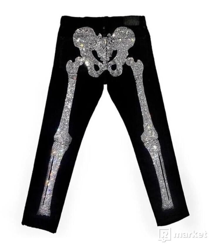 Klan Life Rhinestone Skeleton Denim Pants