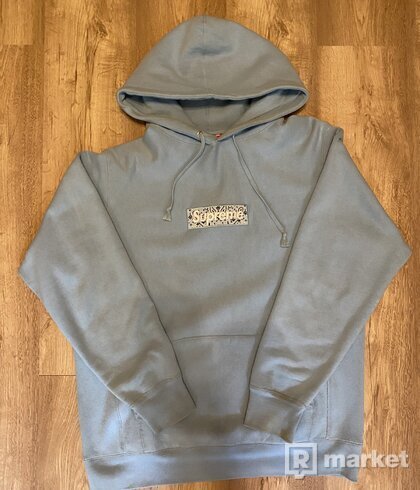 Supreme Bandana Box Logo Hooded Sweatshirt Light Blue
