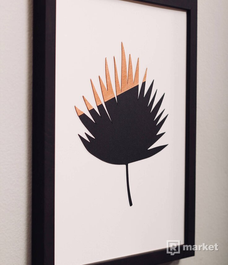 Set obrazov - Tropické Listy - bronz
