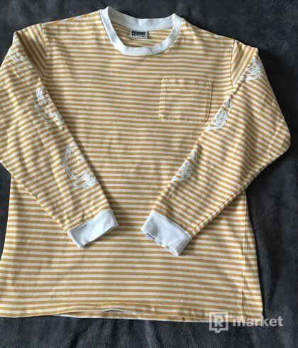 BILLIONAIRE BOYS CLUB SMALL STRIPE T-SHIRT:YELLOW