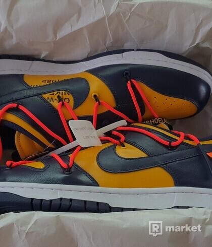 Off White x Nike Dunk Low 'Michigan' UK 10,5