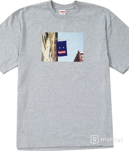 Supreme Banner Tee Heather Grey size M + Utility Pouch Royal