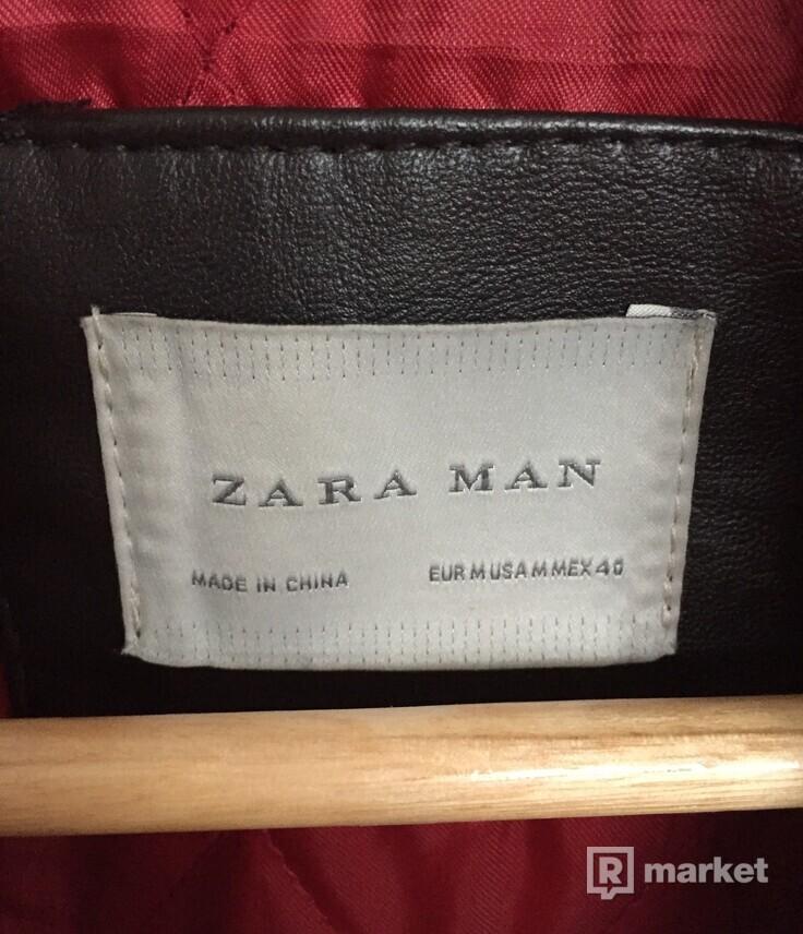 Zara hnedá kožená bunda