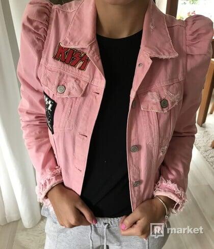 Malo nosena ružová riflova bunda KISS