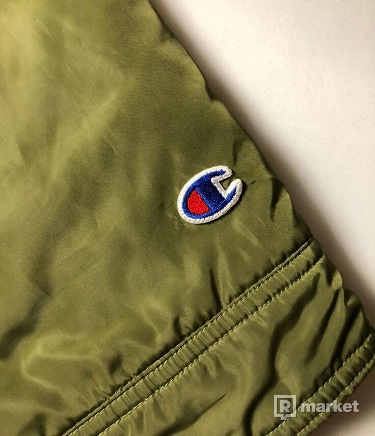 supreme x champion olive green coach jacket