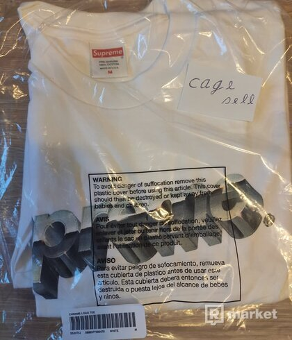 Supreme Chrome Logo Tee (white M)