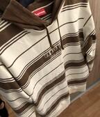 Supreme FW16 Classic Logo Brown Striped Hoodie