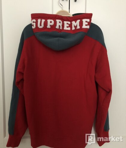 Supreme Paneled Hooded Sweatshirt Red - L