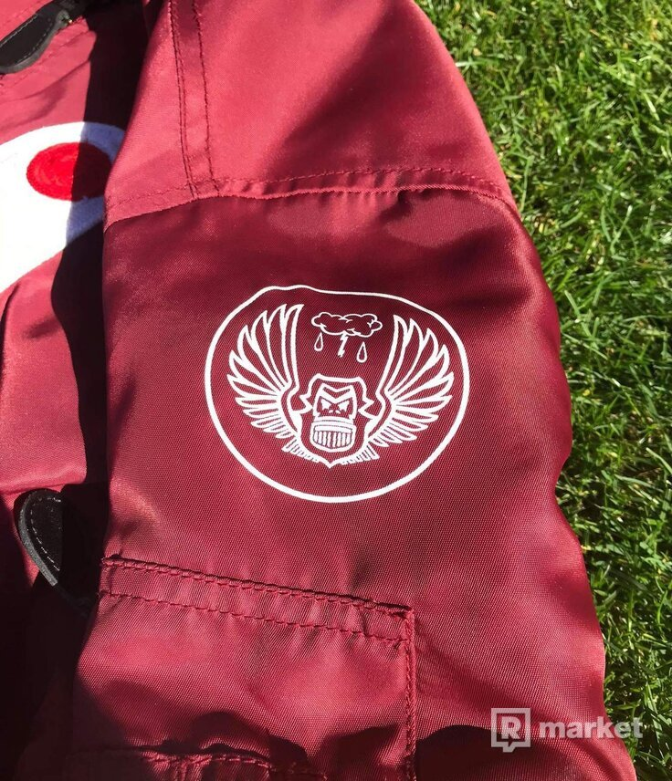 Bape bomber jacket red
