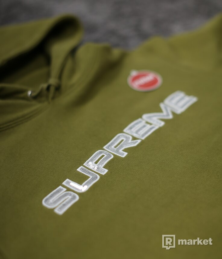 Supreme Sequin Logo Hoodie Olive