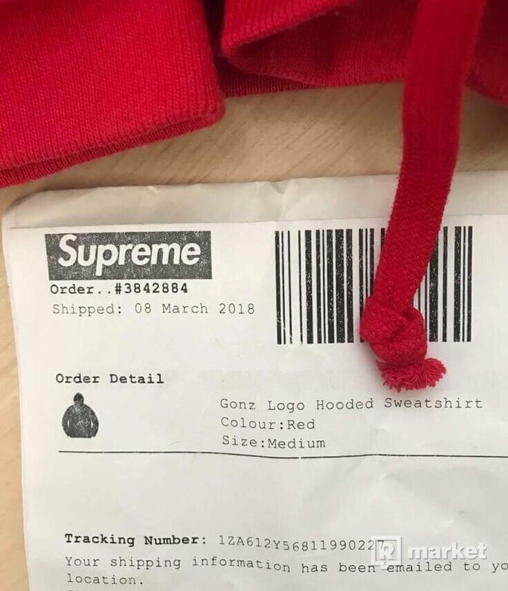 Supreme Gonz Logo Hooded Sweatshirt Red