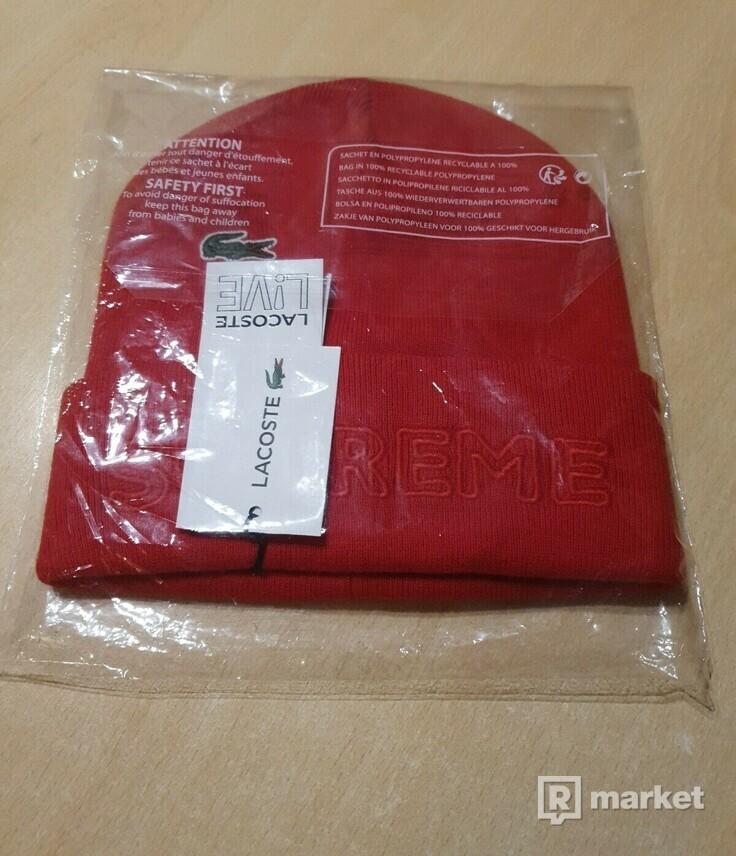 Supreme Lacoste Beanie červená
