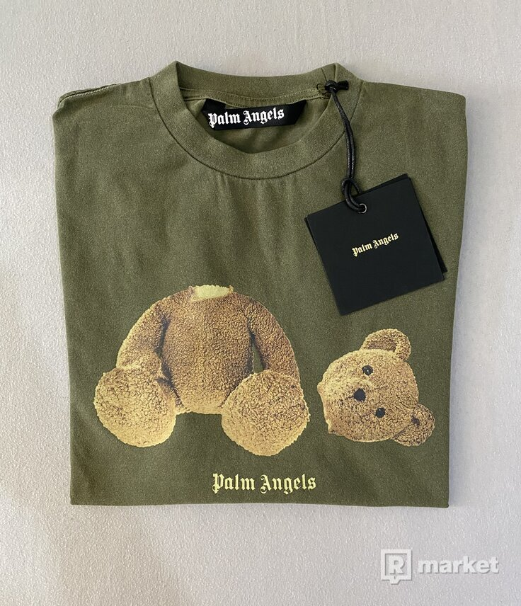Palm Angels Logo Bear-Print Tee Army Green