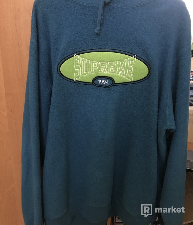 supreme reverse fleece aqua hoodie