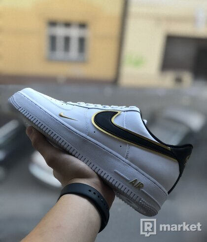Air Force 1 Low Double Swoosh Black White Gold