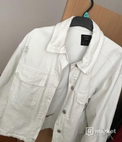 Riflová bunda biela