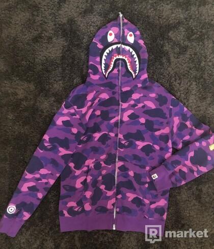 BAPE Color Camo Shark Full Zip Hoodie Purple