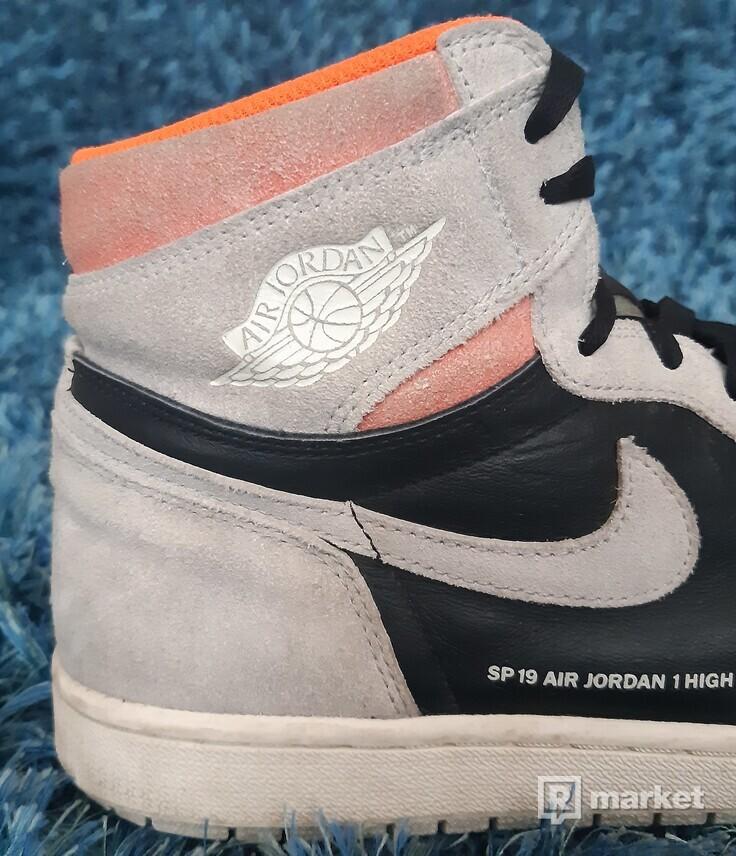 AJ1 high neutral grey hyper crimson