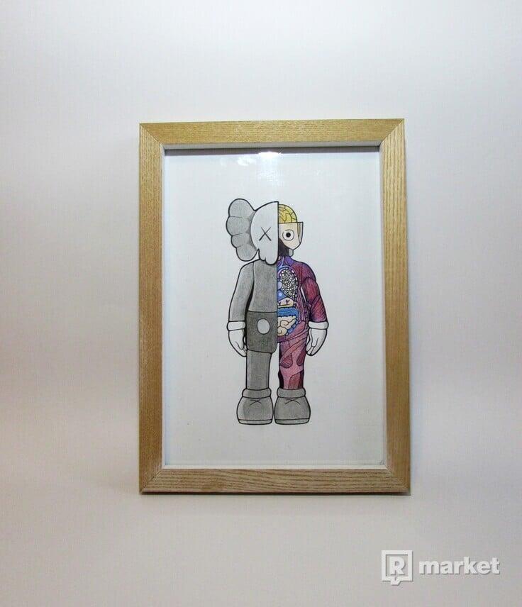HYPEBEAST KAWS ART kreslený obraz a4