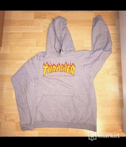 Thrasher grey flame hoodie