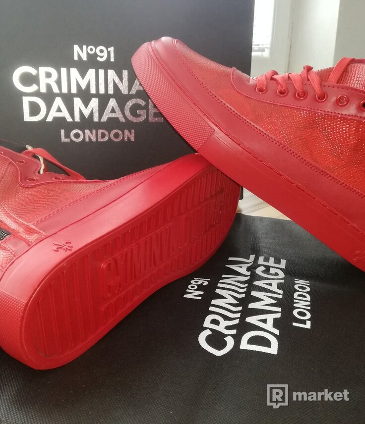 Criminal Damage Mens High-top Trainers Python Red