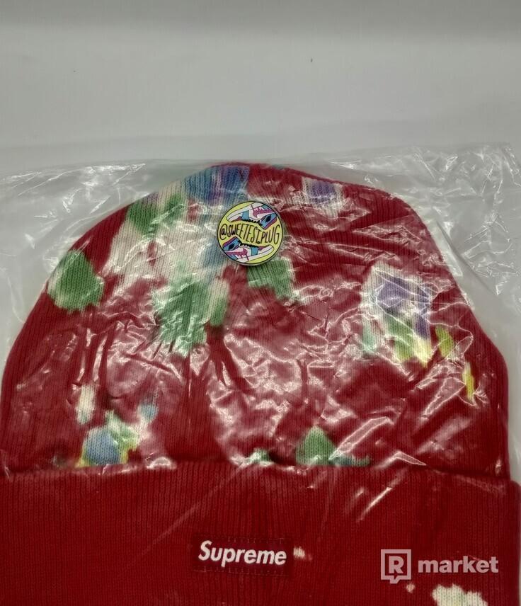 Supreme Splatter Dyed Beanie Red