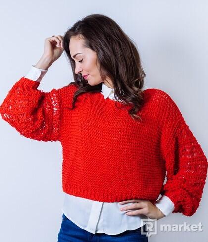Červený crop pulóver