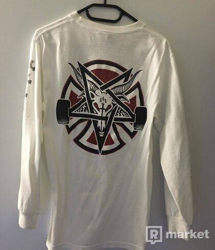 Thrasher Pentagram Cross LS TEE Bílé