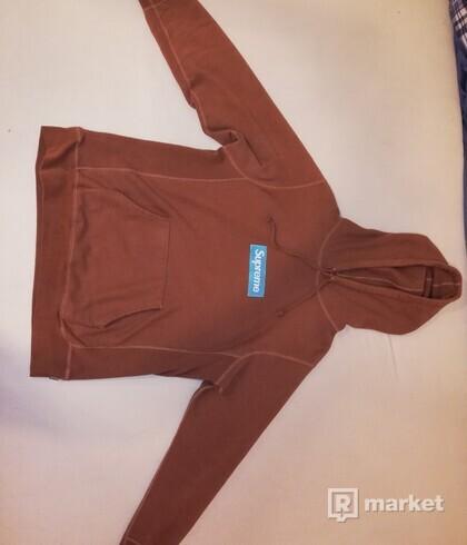 Supreme box logo hoodie fw17 hneda/modrá