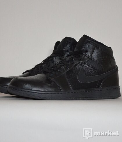 Air Jordan 1 Mid Black on Black