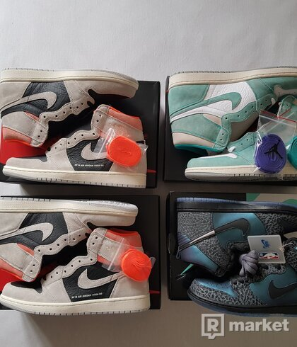 AJ1 Crimson, AJ1 Trubo green, SB Dunk black sheep